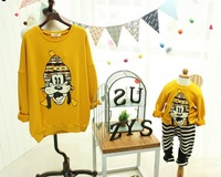 2014 Spring/Autumn Mother Son and Daughter Animal Print Shirts Korean Style Family Cloth
