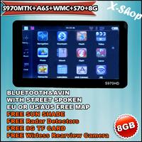 X-SHOP S970MTK+A6S+WMC+S70+8G Bluetooth GPS navigation&RADAR DETECTOR&WMC&Sun Shade ,speedcam,TTS Russia/Belarus/Ukraine/Brazil