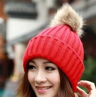 Woman Faux Fur Rabbit Ball Decoration Candy Color Size Free Kintted Winter Autumn Hats Caps Skullies Beanies Gorros de LanaH1403