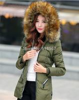2014 winter White duck down jacket women High simulation fox fur collar Thickening Slim winter coat plus size S-3XL women parka