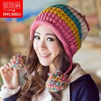Winter hat women's Korean version of the influx of lovely ladies winter wool hat knitted winter hat ear