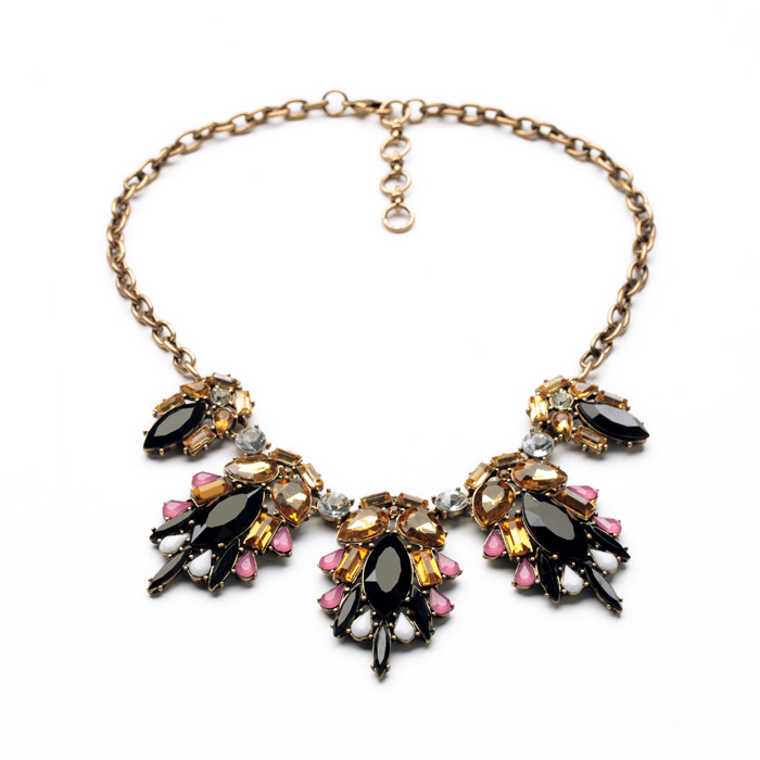 Shijie Jewelry Factory 2014 High end Colorful Rhinestone Pendant Fashion Statement Necklace for Women