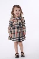 New Autumn Winter Children's Clothing Girl Thick Dress 9M-5T Baby Girl Dress Plaid Classic Princess Collar Pocket Belt Outerwear