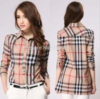 Free Ship Womens Tops Fashion 2014 Plaid Shirt Chemise Femme Long Sleeve Blouse Vintageprinted Camisa Feminina Blusas Renda