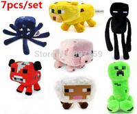 "Minecraft Enderman Creeper Mooshroom sheep squid cow pink doll pig 7"" Baby Pig Piggy plush toy stuffed dolls 7 styles 14pcs/lot"