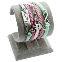 Multilayer Eiffel Tower Leather Color Wax Line Fashion Bracelet Love-4