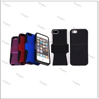 200pcs/Lot  PC Slicon 2 in 1 Plastic Meshy Hard Case Cover for iPhone 5