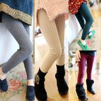 Cheap Wholesale 2014 autumn new female children's clothing children pants leggings thick knit a sweater