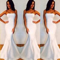 Long Sexy Dresses Evening 2014 Strapless Sleeveless Floor-Length Long White Mermaid Formal Evening Gowns Dresses