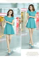 women summer dress 2014 solid color short sleeve chiffon causl dress slim waist short Pleated dresses autumn fashion dress