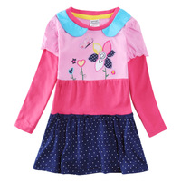 Babi Princess Nova Child Girls Clothes Flower Patchwork Dress Kids Casual Cotton Embroidery Dress For Girl H5616