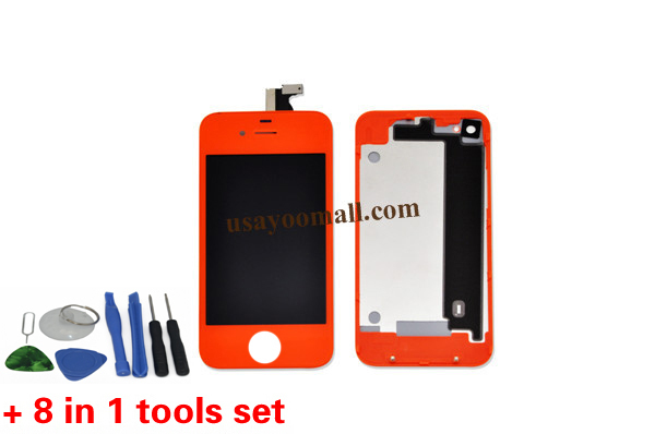 Orange Color Mobile Phone Lcd Replacement Touch Digitizer Lcd Assembly with Frame for iPhone 4 4g GSM+Housing+Tools(China (Mainland))