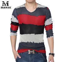 Plus Size 4XL 5XL  Stripe Men's T Shirt Spring Autumn Fashion Slim Print Camisetas Long-sleeve T-shirt Casual Men Clothing MT285