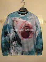2014 Hot Fashion Men/Women 3D Shark Creative Personality Print Sweaters Harajuku Hiphop Hoodies Plus size Sweatshirts Tops