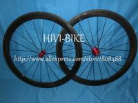 High Performance 700c carbon fiber 50mm clincher/tubular road bike wheelset Novatec hub V brake Free 1 Year Warranty
