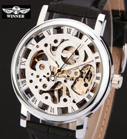 leather strap Mens fashion casual wirstwatches Skeleton Hand Wind Mechanical Watch for men Watches Relogio Masculino