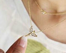 Hot Selling New Style Fashion Jewelry Gold Plated And Silver Plated Fly Angel Exquisite Chain Necklace For Women Lady