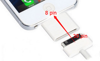 Free Shipping New Portable Mobile Phone Adapter Converter Charger Adapter 30 pin to 8 pin adapter for Apple iphone 4 to 5 5G 5S