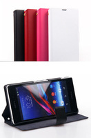 Doormoon For sony  Xperia  Z1 l39h Flip Leather Case Real Cowhide Leather Cover And Retailed Package By Free Shipping
