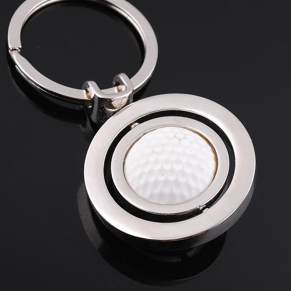 Free shipping,10x Sports Golf Ball Keychain Key Chain Male Mini Key Chains Spherule Rotation Christmas Gift(China (Mainland))