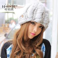 Stripe rabbit fur hat rabbit fur ball knitted hat female winter fur hat female winter