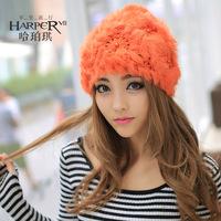 2014 all-match pearl rabbit fur hat winter thermal sweet fur hat toe cap covering cap female