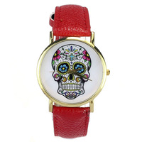 2014 New Alipower hot sale Women Men Punk Skull Analog Watch Leather Band Quartz Wrist Watch Free shipping&Wholesale