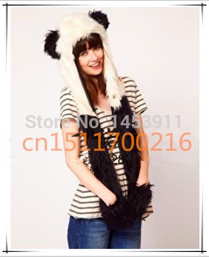 Retail Wholesale Fashion Warm Hood Hat Scarf Gloves Animal Wool Bonnet Cap Imitation Fur Hat Black&White(China (Mainland))