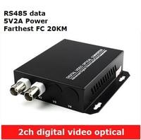 2CH digital Video Optical converter fiber optic video optical transmitter and receiver multiplexer 1CH +485 Data FC 20KM
