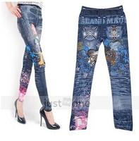 2014 Hot Japanese cartoon fashion beauty Denim seamless stretch leggings wholesale nine points