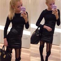 2014 new style women winter dress casual o-neck long sleeve cotton mini dress slim soild color women dress free shipping