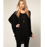 2014 Autumn Women Long Batwing Sleeve O-neck Loose Pullovers 2 Colors T-shirts S-XL Plus Size Shirts  Tee Tops