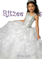 6796 Beaded Crystal Backless Long Cupcake Glitz Beautiful Pageant Dress Girls Ball Gown Ritzee Stage Prom Party Flower girl