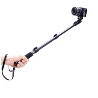 C-088 Aluminum alloy Extendable Handheld Tripod Monopod Adapter Self Held with Phone Clip for GoPro Hero 1/2/3 DSLR Camera