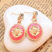 Promotions Fashion Vintage style Geometry Round lion leopard Pendant drop earrings jewelry for women 2014 Wholesale PT31