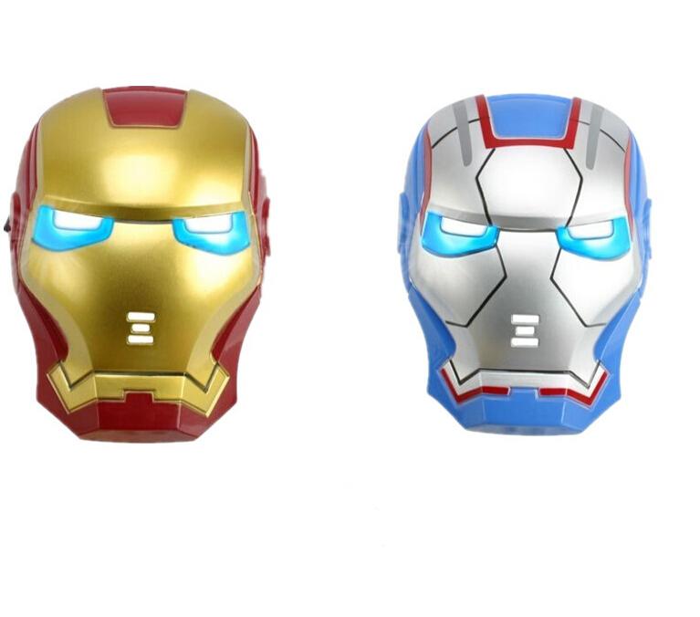 Super herói homem de ferro máscara máscara de Halloween para crianças festa de aniversário LED luz de incandescência máscara facial com bateria(China (Mainland))