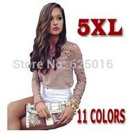 New high quality lace top women ladies girlswhite balck lace top blouse Women's Peplum Lace long sleeve Blouses-5xl
