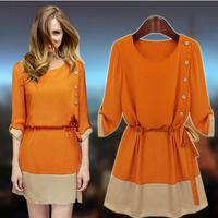 2014 Autumn  one-piece dress medium-long chiffon plus size clothing