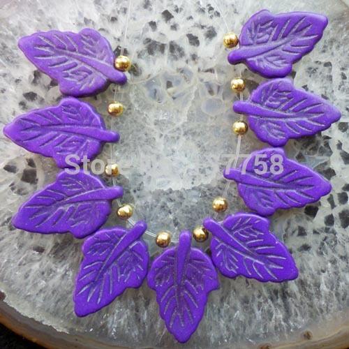 (Min. Order is $10) 9pcs Carved Purple Turquoise Leaf Pendant Bead Set SAM1725(China (Mainland))