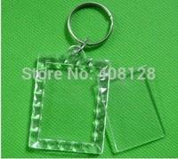 500pcs Blank Acrylic Keychains key chains Insert Photo plastic Keyring free DHL shipping