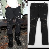 Hot sale Those days 2014 new  male avant-garde fashion street copper zipper decoration black jeans free shipping