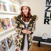 2014 Winter Europe women's new long section camouflage down coat with thick fur collar, jacket , plus xize xxl free shipping