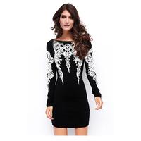 New Arrivel 2014 Women Autumn Dresses For Lady Print Black Casual Dress Work Wear Office Winter Dress Vestidos de Festa 9088