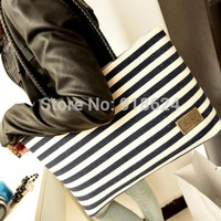 TFH Women's Should Bag 2014 New Fashion Lady Navy Striped Canvas Casual Handbag Big Bag Free Shipping HOT