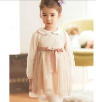 Wholesale 5pc/lot Fashion Winter Cute Peter Pan Collar Cotton Lace Fleece Girl Dress Ribbons Thick Princess Dress Pink Black