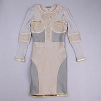 High Quality Hot Long Sleeve Gray Beading Bnadge Dress Celebrity Cute Bodycon Dress