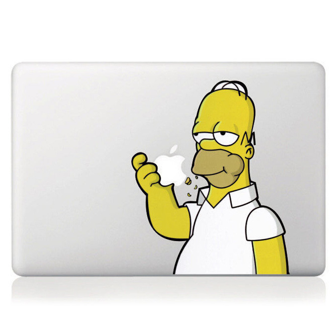 Hot Homer Simpson DIY Personality Vinyl Decal Sticker for Apple Macbook Pro / Air 13 inch Laptop Case Cover Cartoon Skin Sticker(China (Mainland))