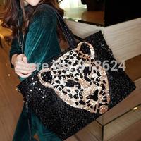 TFH 2014 New Fashion Women Bling Leopard Head  Pu Handbag Women's Sexy Sequins Big Shoulder Bag Free Shipping
