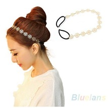 Free shipping Lovely   fashion Hollow Rose Flower Elastic Hair Head Band  hollow metal hoop  hair hoop hairpin hair bands