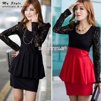Casual Autumn Winter Long Sleeve Women Dresses Slim Thin Black Red Elegant Lace Dress Fashion 2014 New Work Wear 2080